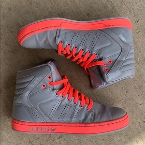 • [adidas] grey and hot coral high top sneakers •